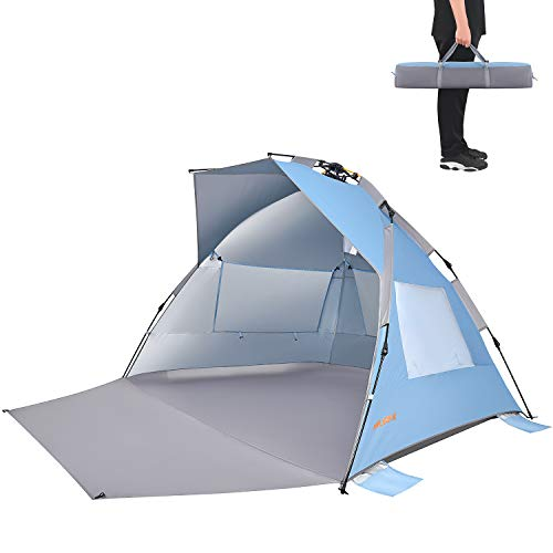 #WEJOY XL Pop Up Beach Shade Tent Sun Shelter with SPF UV 50+ Protection, Extended Porch, 3 Mesh,Windows, Carrying Bag, Stakes, Guy Lines,Semi-Closed Privacy Door, Instant Set Up in 60 Seconds,Blue