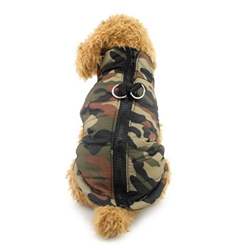 Zunea Gepolsterte Warme Kleine Hund Katze Weste Mantel Jacke Welpe Weste Harness Pet Winter Kleidung Doggie Jumper Chihuahua Overalls Bekleidung Armee Grün Camo XS