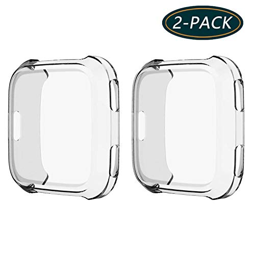 KPYJA for Fitbit Versa Protective Case, Slim Screen Protector Plated TPU Case Scratch Resistant Cover Compatible  Fitbit Versa Smart Watch (Clear)