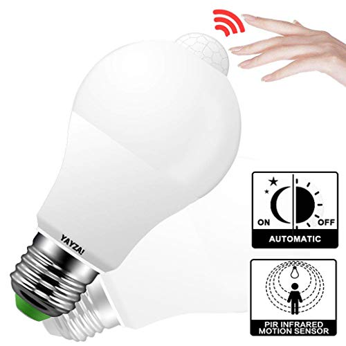 YAYZA! PIR-bewegingsmelder IP44 veiligheids-LED-gloeilamp met ingebouwde schemering tot dawn fotocel sensor 1000 lm 100 W gelijkwaardig E27 Kaltes Weiß Verpakking van 2 stuks.