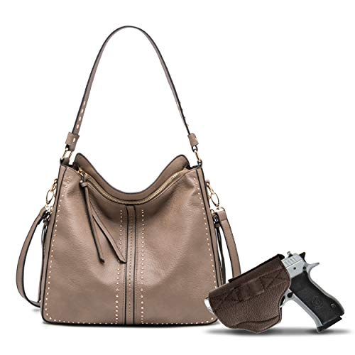 Khaki Large Concealed Carry Hobo Purse for Women Studded Leather Crossbody Shoulder Bag With Gun Holster - Conceal Weapon MWC-G1001KH