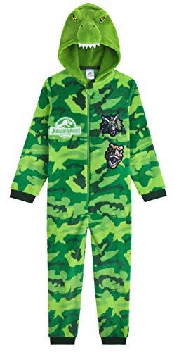 Jurassic World Pijama Niño De Una Pieza, Pijama Dinosaurio Con Capucha, Pijamas Niños Enteros Forro Polar, Regalos Originales Para Niños Y Adolescentes (Verde Camuflaje, 7-8 Años)