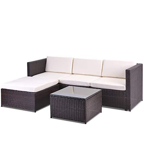Anderlay Tuinhoekbank rotan hoekbank tuinmeubelen terrasset tuin vermakelijke set tuin rotan meubels lounge set (bruin)