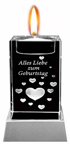 Kaltner Präsente Sfeerlicht - Het perfecte cadeau: led-kaars/kristalglazen blok/3D-lasergravure theelichthouder felicitatiekaart, alle liefde voor verjaardag