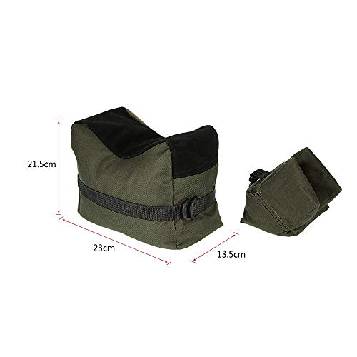 Portable Shooting Front Rear Bench Rest Bag Rifle Target Stand for Hunting Gun (Green)