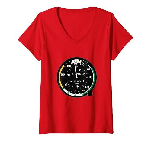 Mujer Airspeed Altimeter Instrument Flight Pilot Aviation Plane Camiseta Cuello V