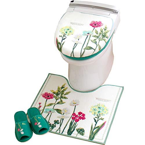 オカ(OKA) ボタニカルガーデン トイレ3点セット (レギュラートイレマット+フタカバー+スリッパ)【洗浄暖房型・普通型兼用】グリーン