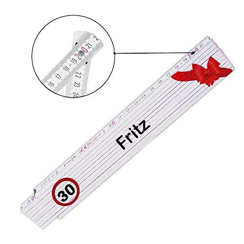 Zollstock mit Namen Fritz und Motiv zum 30. Geburtstag | Glieder-Maßstab mit Namen bedruckt | Viele Namen zur Auswahl