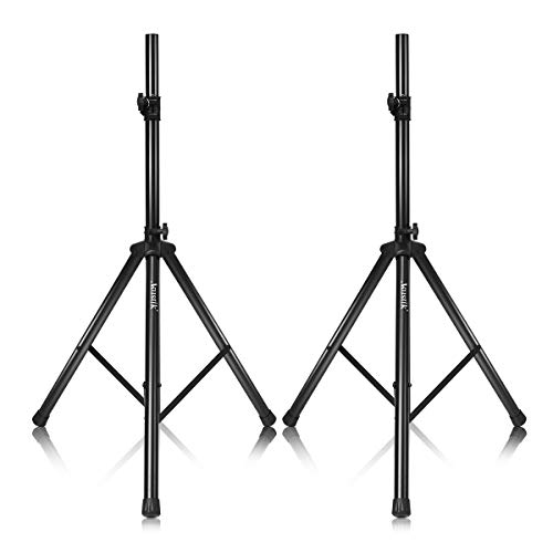 """AKUSTIK Universal Speaker Stand with 37.5""""-75"""" Adjustable Height, 35MM Compatible Insert, 150lbs Weight Capacity, Safety Locking Knob & PIN, DJ PA Tripod Stand (Pair of (37.5""""-75""""))"""
