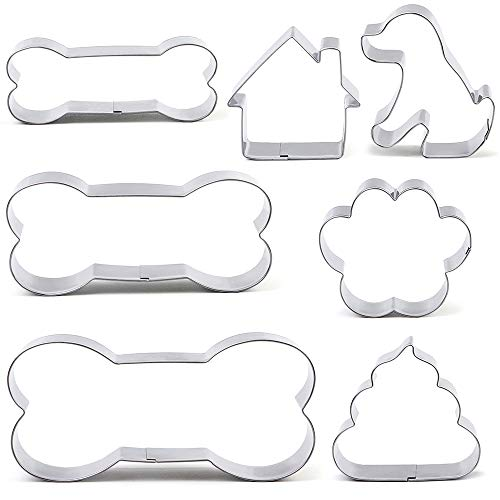 BakingWorld Dog Cookie Cutter Set - 7 Piece - Dog,Paw Print,Dog House,Dog Droppings and Dog Bone Biscuit Cookie Mold for Homemade Treats - Stainless Steel