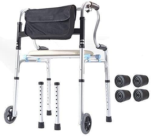 XWYFS Andador Plegable de Ruedas Walker 2 (5 Pulgadas) Médico de Rolling Walker con Asiento y Movilidad Bolsa de Ayuda for el Adulto, Tercera, Ancianos y Personas discapacitadas 6FS83