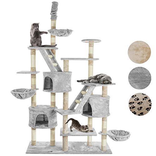 Happypet® Kratzbaum für Katzen deckenhoch höhenverstellbar 230-260cm cm hoch, CAT013-3 großer Kletterbaum Katzenbaum, stabile Säulen mit Sisal ca. 8cm, Häuser, Liegemulden, Treppen, GRAU
