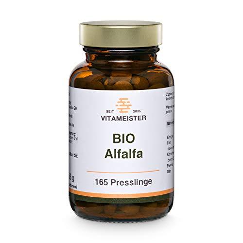vitameister BIO Alfalfa (Luzerne) Presslinge, 165 Tabletten im Braunglas, Rohkostqualität, deutsche Fertigung