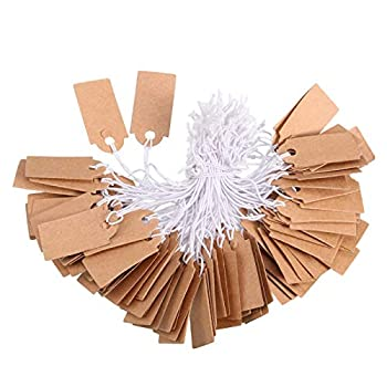 Marking Tags Kraft Price Tags Writable Blank Price Labels Display Tags with Elastic Hanging String 1.02 x 0.47 Inch  300 Pieces