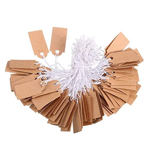 Etiquetas de Precio Etiquetas de Marcador Etiquetas de Exhibición Etiquetas de Precio en Blanco con Cuerda Colgante Elástica, Kraft (300 Piezas, 1,02 x 0,47 Pulgada)