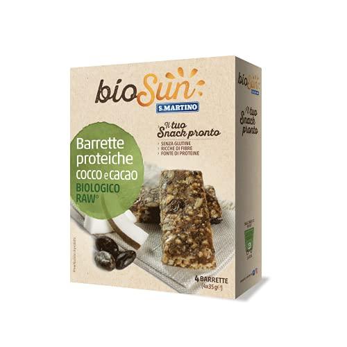 BIOSUN - Barrette Proteiche Cocco e Cacao Biologiche, 4 barrette per 140g, Snack Proteici, Ricco di Fibre, Raw crudo, Snack Sano e Nutriente, senza Glutine, Biologico, Made in Italy