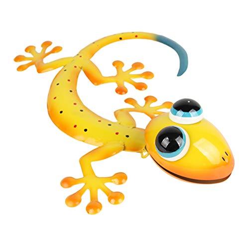 Hemoton Wandskulpturen Metall Gecko Wanddeko 3D Gecko Eidechse Figur Gelb Reptilien Ornament Eisen Vintage Wanddeko Wohnzimmer Schlafzimmer Büro Hause Garten Party Landhaus Dekoration