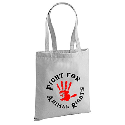 Fight for Animal Rights Tasche Beutel Schwarz Grau (Grau)