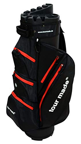 Tour Made OG14 V2 Organizer Trolleybag Cart Bag Golftasche Golfbag Modell 2020 (schwarz-rot-V2)
