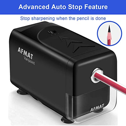 Electric Pencil Sharpener Heavy Duty, AFMAT Pencil Sharpener for Classroom, Auto Stop, Super Sharp & Fast, Commercial Pencil Sharpener for 6-8mm No.2/Colored Pencils/Office/Home, Upgraded Packaging Photo #5