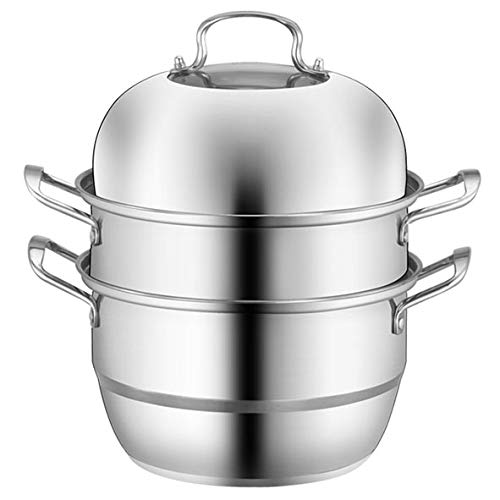 Stainless Steel 3-Tier/Layer Steamer cooking pot, Rice cooker, Double Boilder, stack, steam soup pot and steamer. Visible cover, work with Gas, Electric and Grill stove top (Jumbo 28cm)