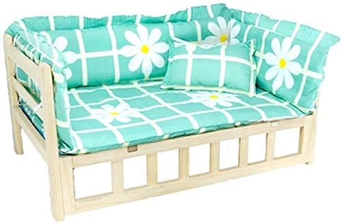 UIZSDIUZ Haustierbett Durable Massivholz-Haustier-Bett mit Matratze und Kissen, for Medium Large Teddy Golden Retriever, Comfort Soft Lounge Sofa Katzenbett (Color : Style1, Size : M(L80×W50×H40cm))