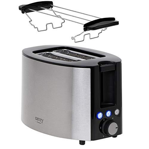 CAMRY CR 3215 Edelstahl Toaster 2 Scheiben, 850 W, mit Funktionen: Aufwärmen, Abbrechen, Auftauen, einstellbare Bräunungsstufen, Brötchenaufsatz, herausziehbare Krümelschublade