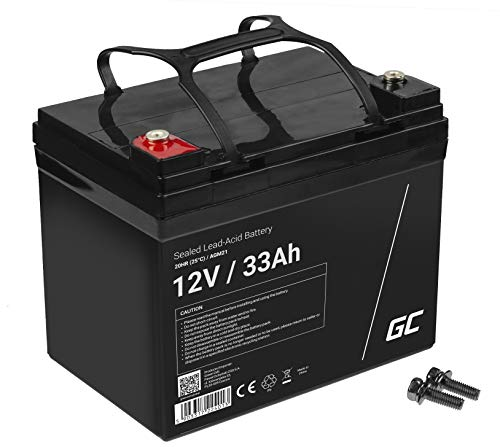 Akku Bleiakku Gel AGM 12V 33Ah Green Cell Akkubatterie für USV Bleigel Akku Sealed Lead-Acid Batterie VRLA Zyklenfest Golf Trolley Wohnmobil Boot Solarbatterie Solarspeicher Fotovoltaikanlage
