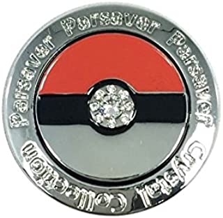 Parsaver Swarovski Crystal Golf Ball Markers - with Hat Belt Clip Deluxe Pokemon Pokeball Design - Funny and Kid Friendly - Unmatched Brilliance and Sparkle on The Greens. Great Golf Gift for Kids
