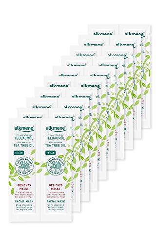 alkmene Teebaumöl Anti Pickel Gesichtsmaske - Tiefenwirksame Gesicht Maske bei unreiner Haut - vegane Gesichtsreinigung ohne Silikone, Parabene & Mineralöl - Gesichtsmasken im 20er Pack (20x 6 ml)