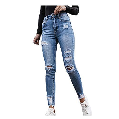 L9WEI Jeans Hosen Frauen Zerrissene Jeans mit Löchern Niedrige Taille Stretch Skinny Jeanshosen Stylische Jeans Denim Trousers Lässig Jeans Hose