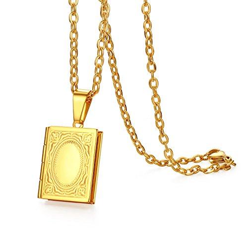 JewelryWe Schmuck Edelstahl Foto Medaillon zum Öffnen Photo Bilder Amulett Gold Quadrat Quadratisch Book Buch Anhänger Halskette Kette für Herren Damen - Kostenlose Gravur