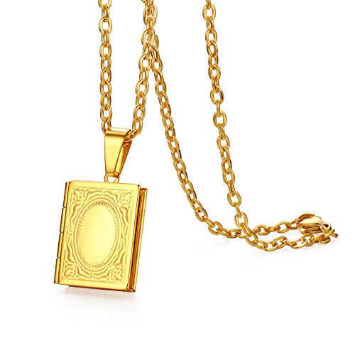 JewelryWe Photo Locket Opening Photo Images Amulet Gold Tone Square Book Stainless Steel Pendant Necklace Chain for Men Ladies - Free Engraving