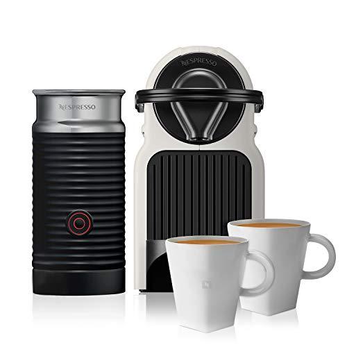 NESPRESSO  ¡Paquete Promocional! Cafetera Inissia con Espumador de leche, Color Blanca (Incluye obsequio de 2 tazas y 14 cápsulas de café)