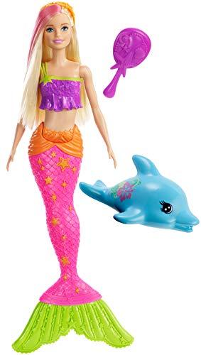 Barbie Dreamtopia Couleurs Aquatiques, poupée sirène blonde avec mèche rose, brosse à cheveux et figurine dauphin, jouet pour enfant, GGG58