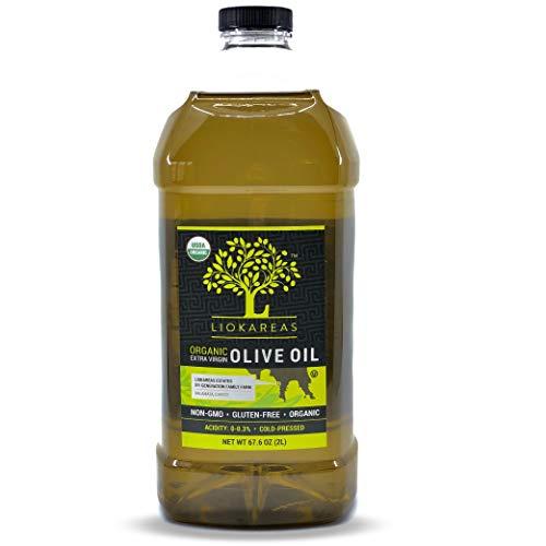 Organic Greek Extra Virgin Olive Oil - Non GMO - Gluten Free - USDA Certified Organic - Single Sourced - Premium - Cold Pressed - Unfiltered - Paleo - Keto - 67.6oz - 2020 International Award Winning Olive Oil