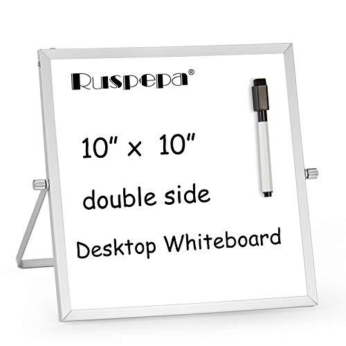 RUSPEPA Mini Pizarra De Borrado En Seco - Base Magnética Portátil De Sobremesa De 25 X 25 Cm Con 1 Marcador Negro - Bloc De Notas Reversible A Lista De Tareas Para Escritorio De 360 Grados