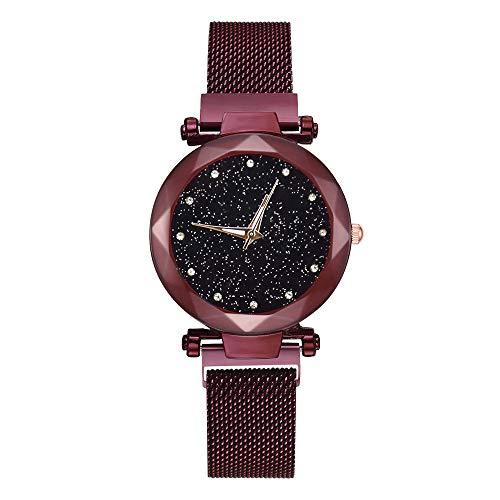 jieGorge Damen-Armbanduhr, magnetisch, Mesh-Gürtel, attraktiv, Stahlband, Quarz, leger, schwarzer Sternenhimmel, Zifferblatt für Frauen, PVC, rot, A