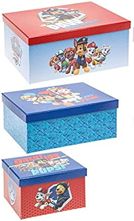 Nickelodeon Paw Patrol storage boxes pieces blue red
