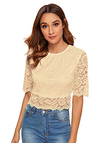 MakeMeChic Women's Short Sleeve Sexy Sheer Blouse Mesh Lace Crop Top A White L
