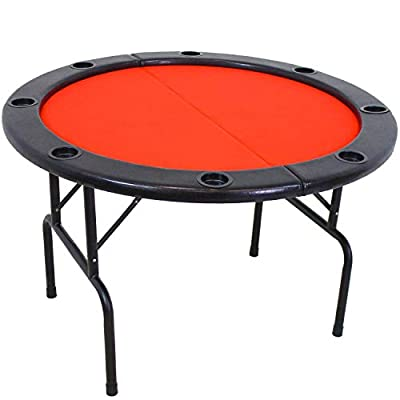 Sunnydaze Folding Round Poker Table for 6 Players with Cushioned Rail and Built-in Cup Holders, 47-Inch Diameter
