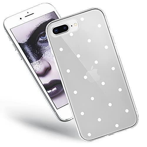 QULT Handyhülle kompatibel mit iPhone 7 Plus / 8 Plus Hülle transparent Silikon Bumper dünn Schutzhülle durchsichtig mit Motiv weiße Punkte
