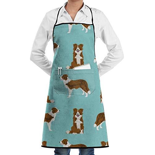Border Collie - Delantal de cocina para perro y chef, color rojo