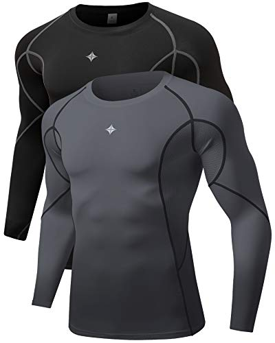 Milin Naco 3 Pack Men's Cool Dry Baselayer Tops Long Sleeve Compression Shirts-Sport:Black Grey/Titan Grey-2 Pack-S