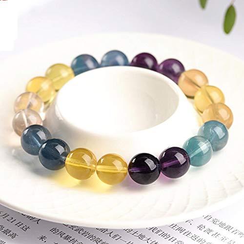 Pulsera de fluorita de Color Natural Feng Shui Vintage Amuleto Beads Pulsera Elástica Chakra Cyrstal Pulsera Atraer Warnalud Ward Off Mal Spirits,9mm