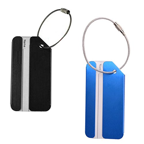 KLOUD City 2 pcs Metal Travel Accessories Rectangluar - shape Matte Finished Luggage tag / Identifier with Name Card Insert (Black & Blue)