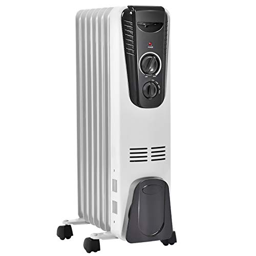 TANGKULA Electric Oil Heater, 1500W Oil Filled Radiator Heater w/ Tip-over and Overheating Protection, Portable Radiant Heater with Adjustable Thermostat, 3 Heating Modes for Home Office