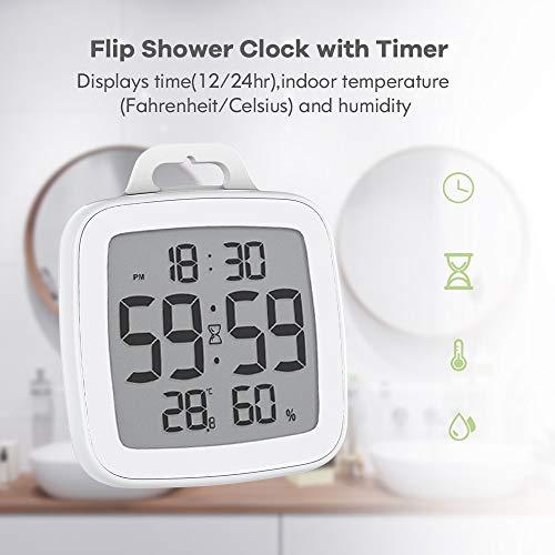 Baldr FLIP Wasserdichtes Digital-Küche-Timer for Kochen Dusche Stoppuhr Wecker Elektronische Kochen Countdown-Touch-Timer (Color : White)