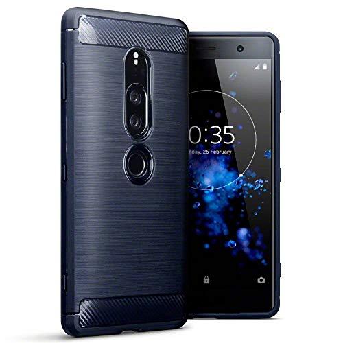 TERRAPIN, Kompatibel mit Sony Xperia XZ2 Premium Hülle, TPU Schutzhülle Tasche Hülle Cover mit Karbonfaser und Ausgebürstet Dessin - Blau