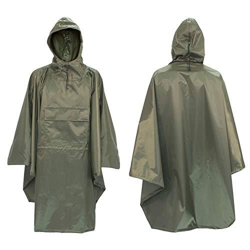 FortMen Regenponcho Wasserdicht Herren BW Outdoor Wander Jagd Poncho - 100% Nylon Unigröße Inkl. Tragetasche - Regenschutz Rucksack Cape